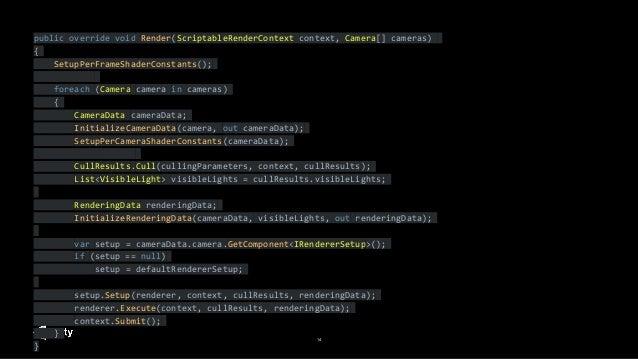 14 public override void Render(ScriptableRenderContext context, Camera[] cameras) { SetupPerFrameShaderConstants(); foreac...