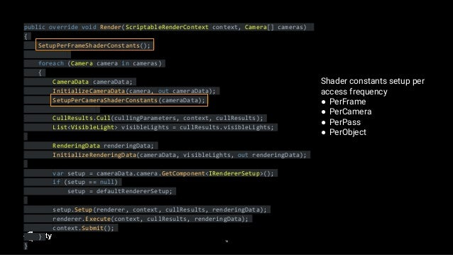 16 public override void Render(ScriptableRenderContext context, Camera[] cameras) { SetupPerFrameShaderConstants(); foreac...