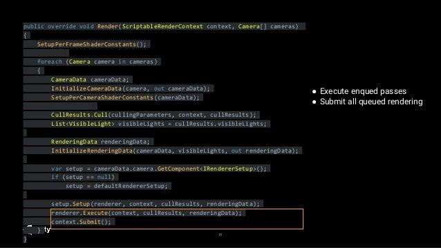 21 public override void Render(ScriptableRenderContext context, Camera[] cameras) { SetupPerFrameShaderConstants(); foreac...