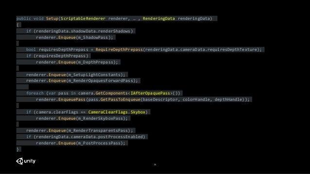 23 public void Setup(ScriptableRenderer renderer, … , RenderingData renderingData) { if (renderingData.shadowData.renderSh...