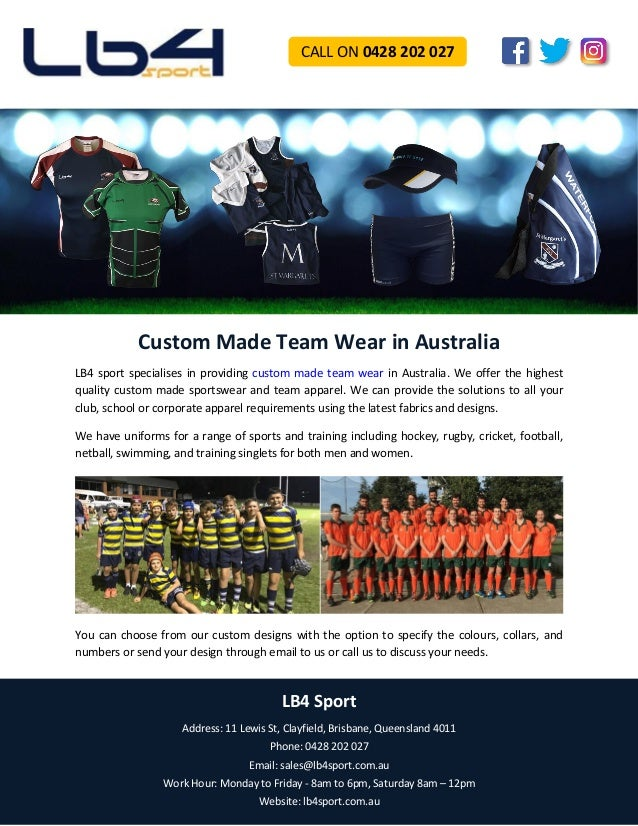 Custom Made Team Wear in Australia