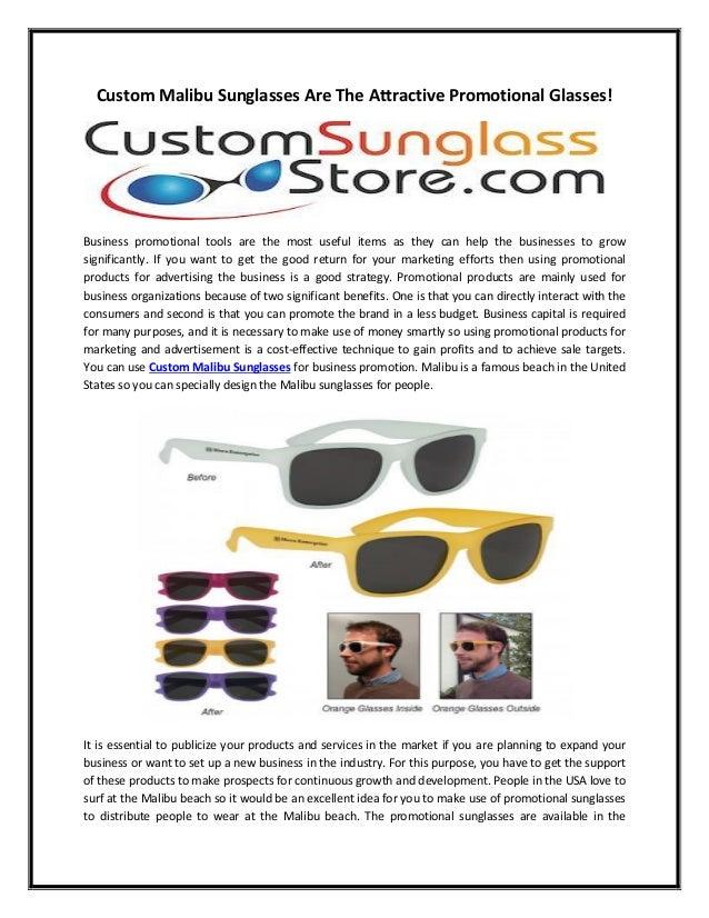 9136ea2d3f8 Custom malibu sunglasses are the attractive promotional glasses