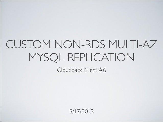 CUSTOM NON-RDS MULTI-AZMYSQL REPLICATIONCloudpack Night #65/17/2013