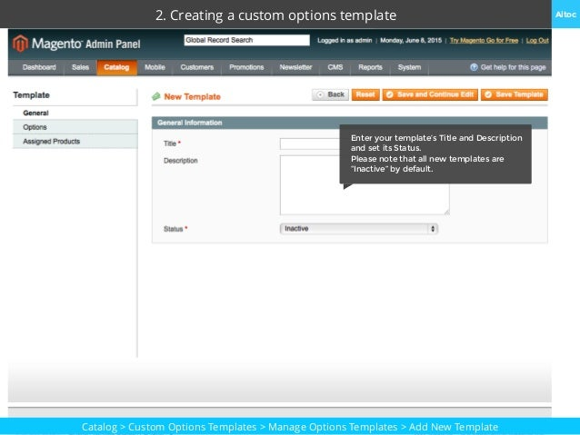 Custom options templates user manual for magento for O and m manual template