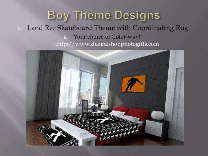 Boy Theme Designs<br />Land Rec Skateboard Theme with Coordinating Rug<br />Your choice of Color-way!! http://www.dezinesh...