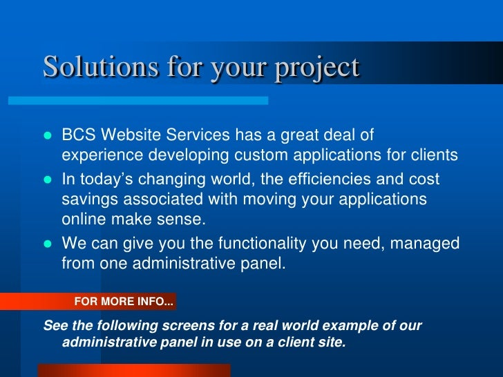 Custom Projects Overview-  CFO Services Provider Directory Slide 2