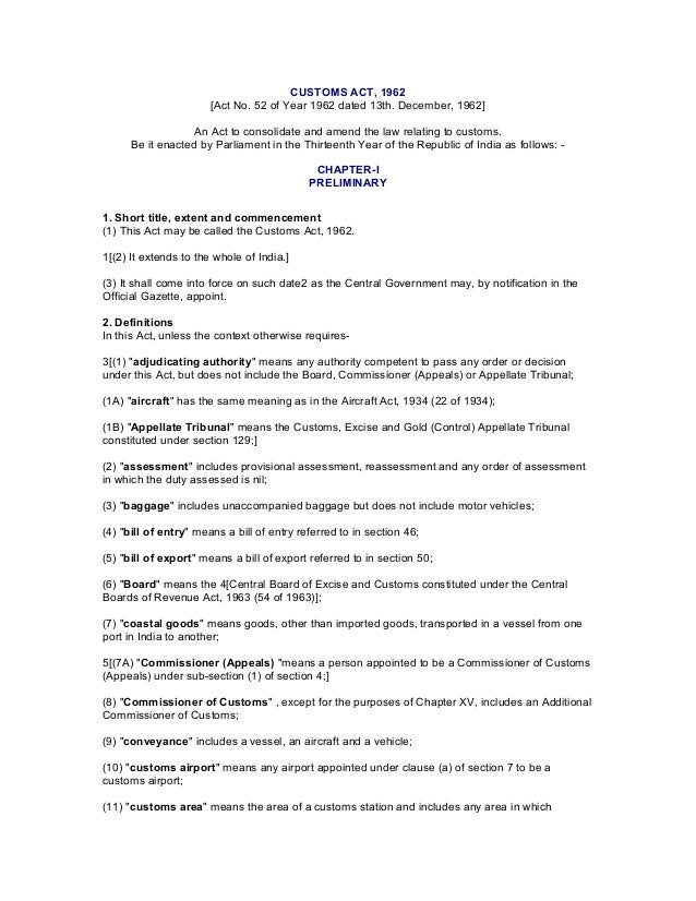 customs act Award of confiscation or penalty by customs officers not to interfere with otherpunishments chapter xiv asettlement of cases 127a definitions 127b application for settlement of cases 127c procedure on receipt of application under section 127b 127d power of settlement commission to order provisional.
