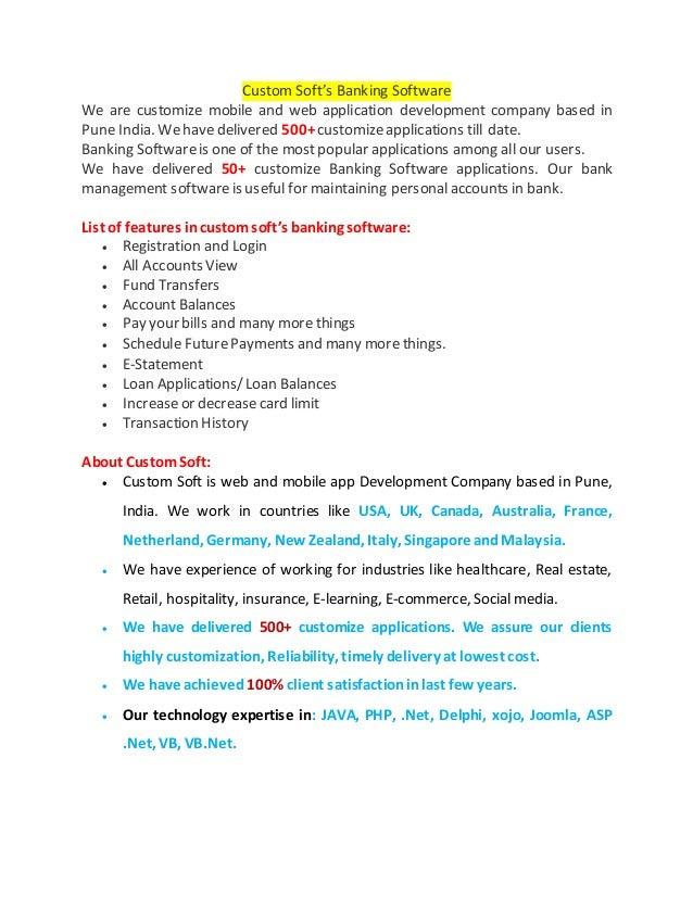 Custom Soft's Banking Software