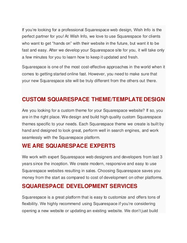 if youre looking for a professional squarespace web design wish info is the