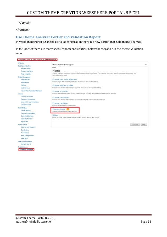 custom theme creation websphere portal 8.5, Presentation templates