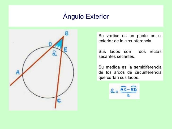 Angulos de la circunferencia for Exterior a la circunferencia