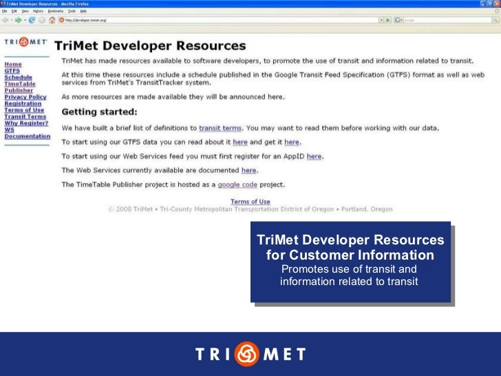 TriMet GTFS and WebServices 8-23-2008