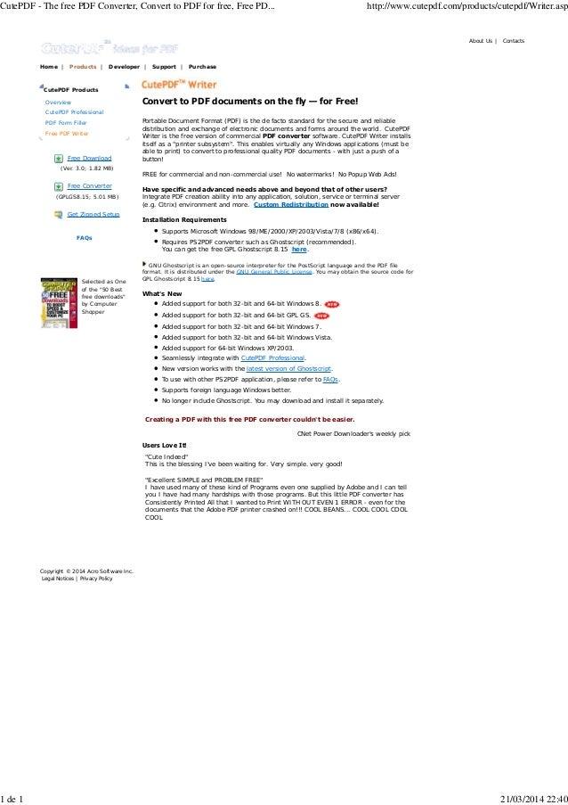 cutepdf printer free download cnet