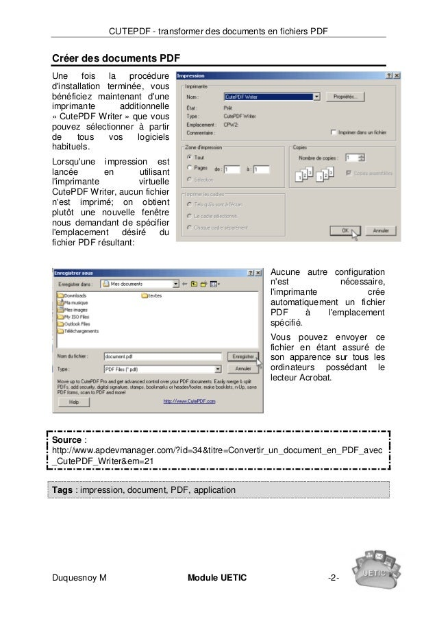 Cutepdf transformer des documents en fichiers pdf - Convertir un fichier pdf en open office writer ...
