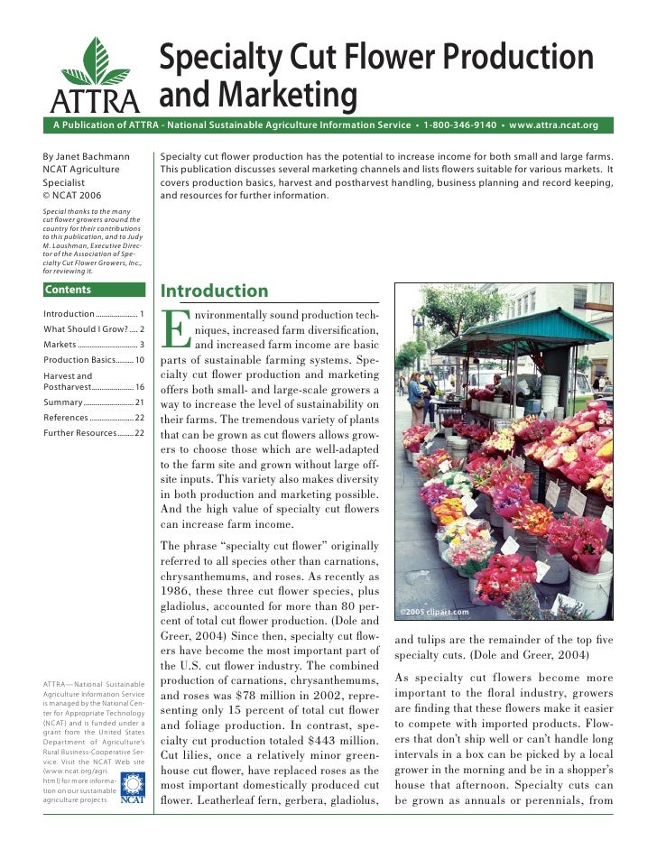 Specialty Cut Flower Production  ATTRA and Marketing   A Publication of ATTRA - National Sustainable Agriculture Informati...