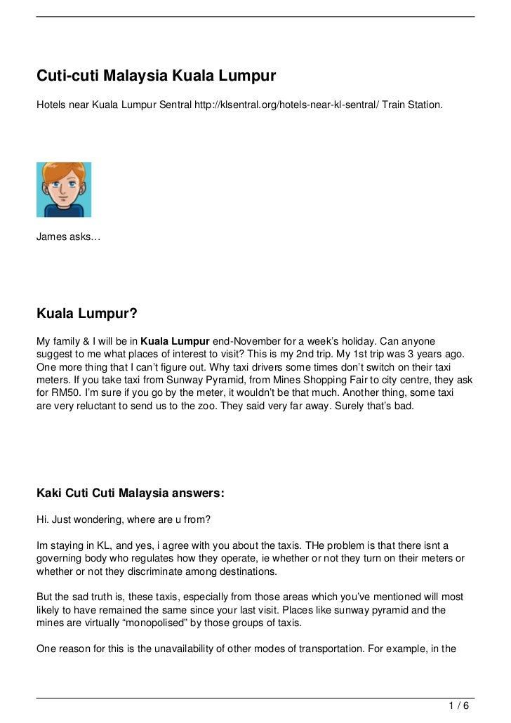 Cuti-cuti Malaysia Kuala LumpurHotels near Kuala Lumpur Sentral http://klsentral.org/hotels-near-kl-sentral/ Train Station...