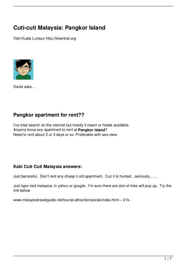 Cuti-cuti Malaysia: Pangkor IslandVisit Kuala Lumpur http://klsentral.orgDavid asks…Pangkor apartment for rent??I've tried...