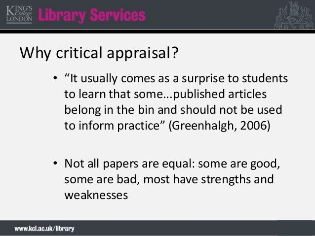 critical appraisal of the strategies and The joanna briggs institute critical appraisal tools for use in jbi systematic reviews checklist for systematic reviews and research syntheses.