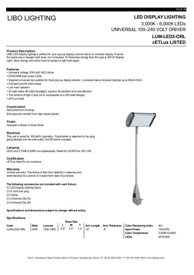 Cut sheet display lighting lum-led2-orl