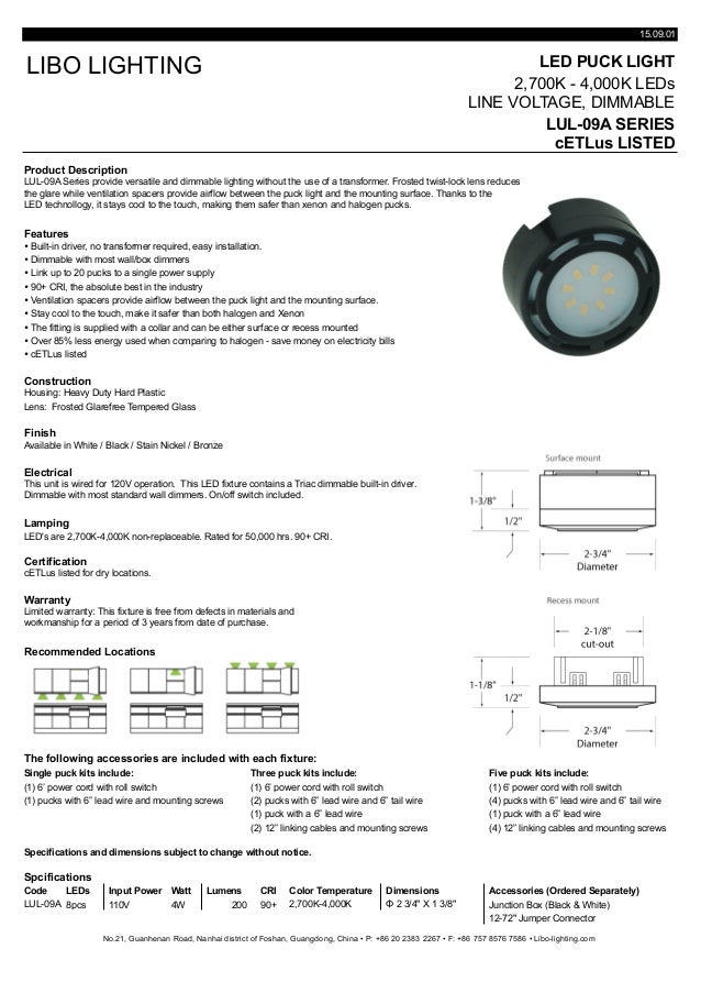 Cut sheet puck light lul 09a series 150901 led puck light 2700k 4000k leds line voltage dimmable mozeypictures Gallery