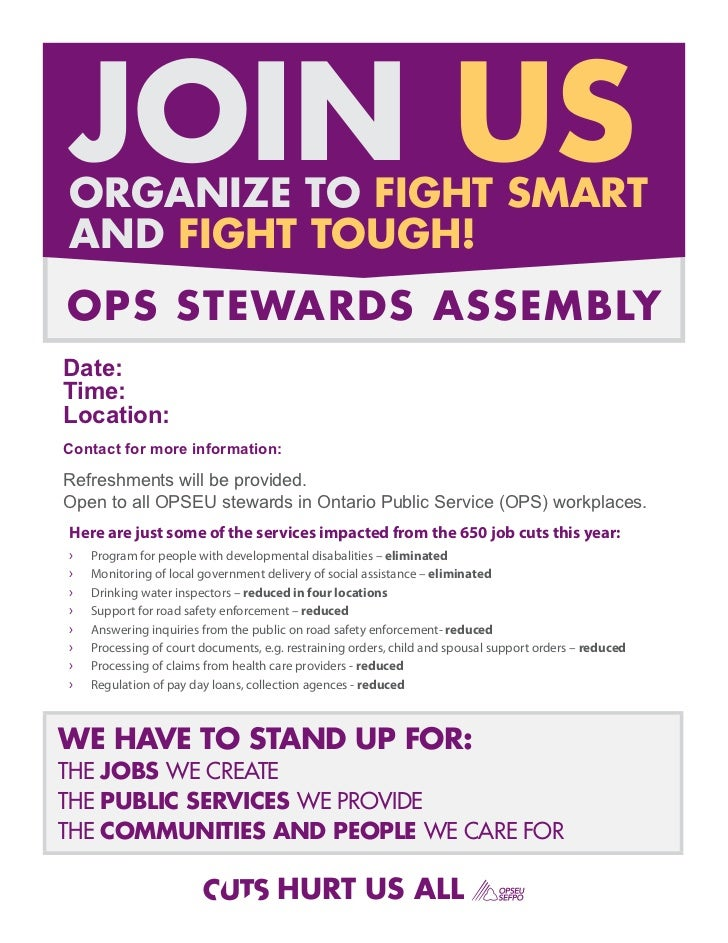 JOIN USORGANIZE TO FIGHT SMARTAND FIGHT TOUGH!OPS STEWARDS ASSEMBLYDate:Time:Location:Contact for more information:Refresh...