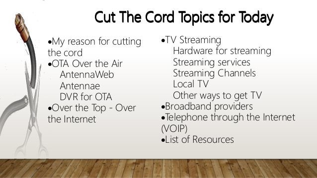 Cut The Cord Topics for Today My reason for cutting the cord OTA Over the Air AntennaWeb Antennae DVR for OTA Over the ...