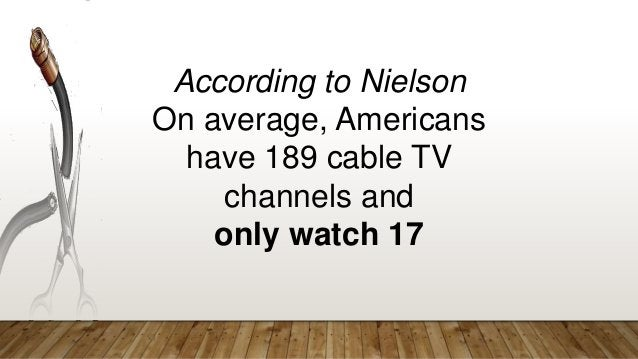 According to Nielson On average, Americans have 189 cable TV channels and only watch 17