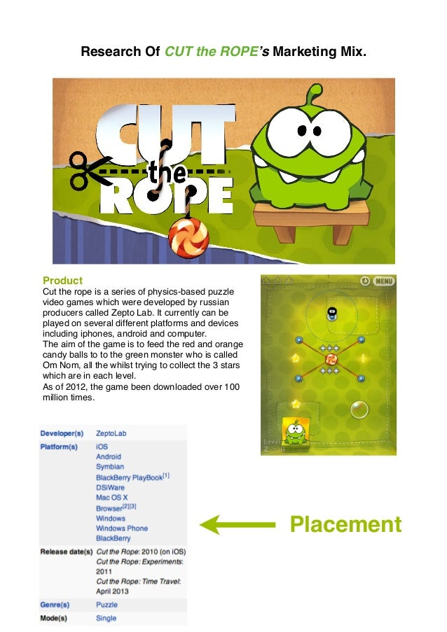 Research Of CUT the ROPE's Marketing Mix. Product Cut the rope is a series of physics-based puzzle video games which were ...