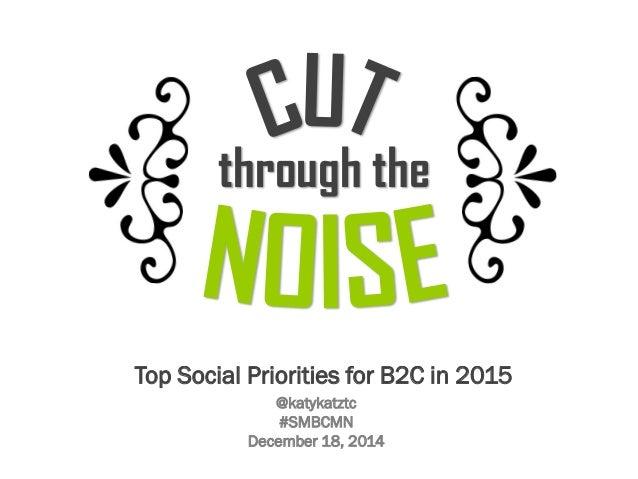Top Social Priorities for B2C in 2015 through the @katykatztc #SMBCMN December 18, 2014