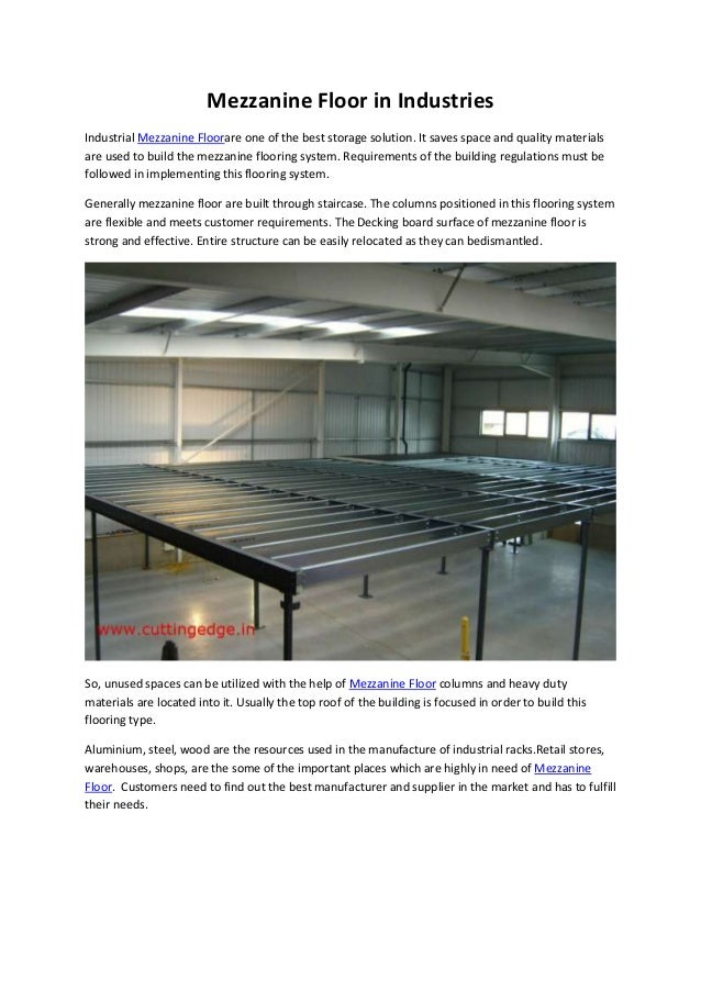 Mezzanine Floor Loading : Mezzanine floor