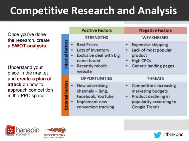 Competitive Research and Analysis  #thinkppc  Once you've done  the research, create  a SWOT analysis.  Understand your  p...