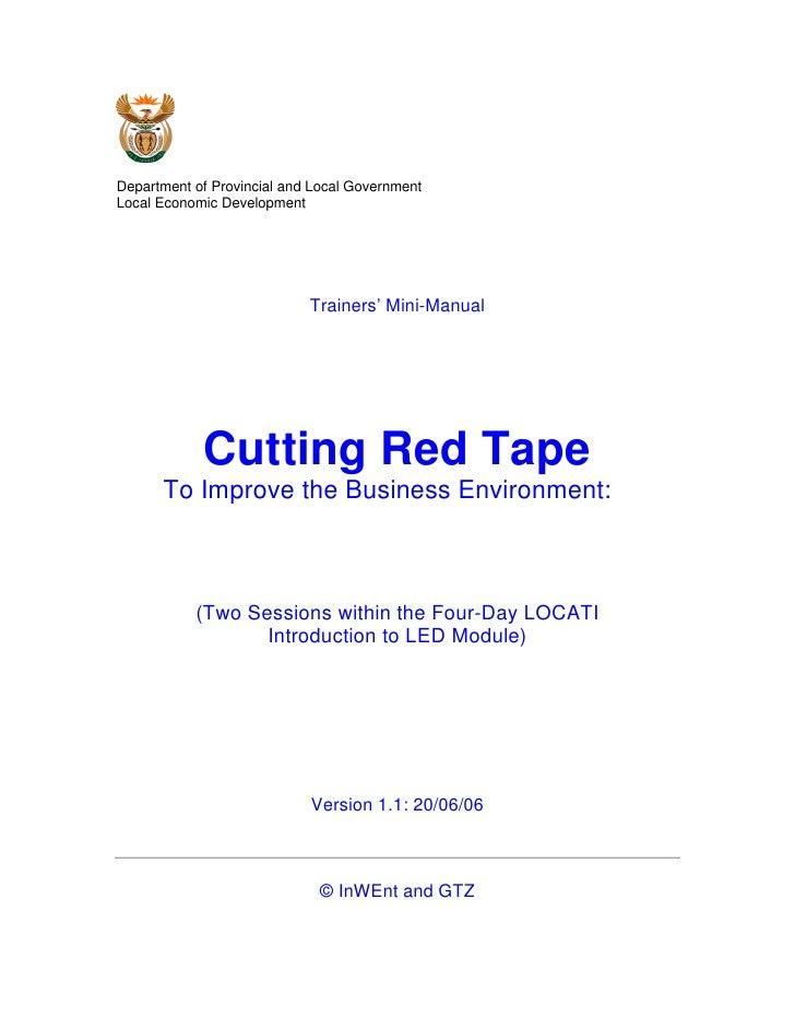 Department of Provincial and Local GovernmentLocal Economic Development                            Trainers' Mini-Manual  ...