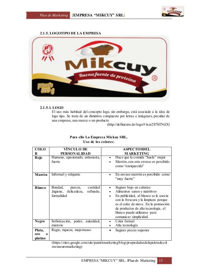 "Plan de Marketing [EMPRESA ""MIKCUY"" SRL] EMPRESA ""MIKCUY"" SRL.  Plan de Marketing 13 2.1.5. LOGOTIPO DE LA EMPRESA 2.1.5.1..."