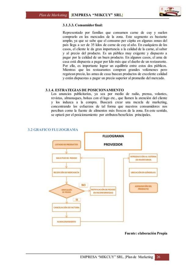 "Plan de Marketing [EMPRESA ""MIKCUY"" SRL] EMPRESA ""MIKCUY"" SRL.  Plan de Marketing 26 3.1.3.3. Consumidor final: Representa..."