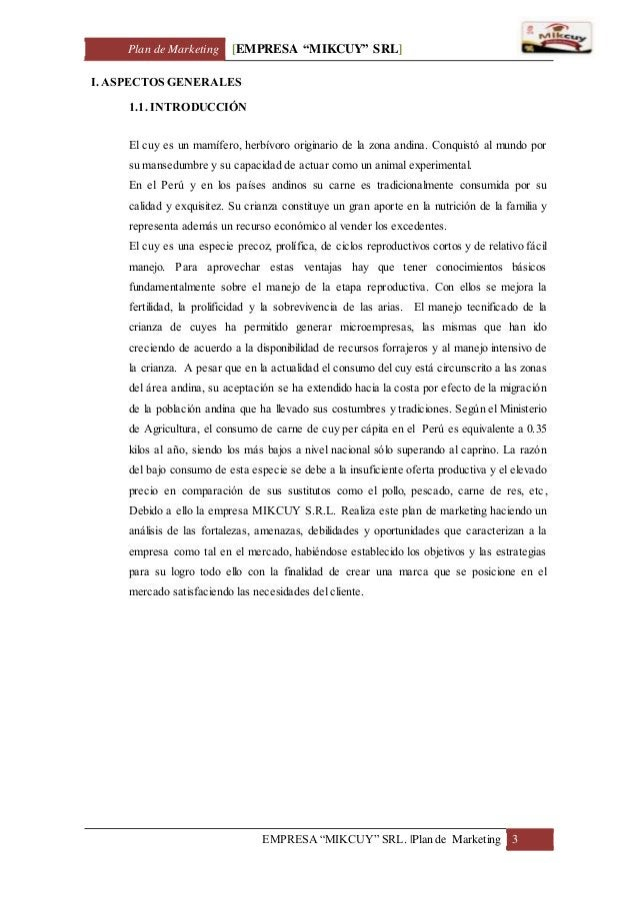 "Plan de Marketing [EMPRESA ""MIKCUY"" SRL] EMPRESA ""MIKCUY"" SRL.  Plan de Marketing 3 I. ASPECTOS GENERALES 1.1. INTRODUCCIÓ..."