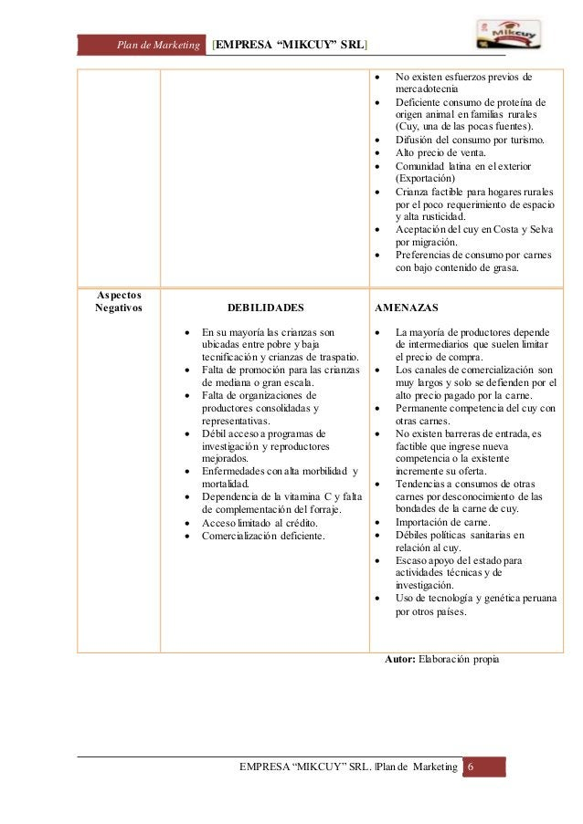 "Plan de Marketing [EMPRESA ""MIKCUY"" SRL] EMPRESA ""MIKCUY"" SRL.  Plan de Marketing 6  No existen esfuerzos previos de merc..."