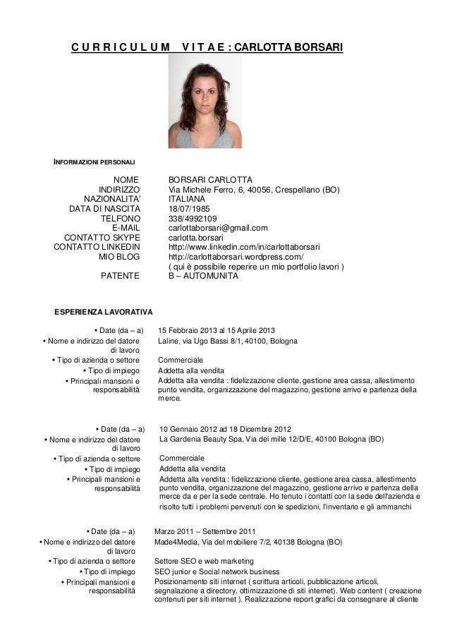 Esempio Di Curriculum Italiano Firmakoek