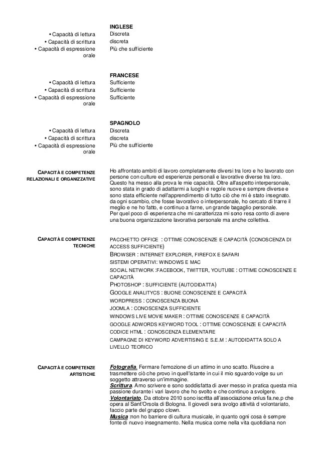 Curriculum Vitae Supermercato Firmakoek