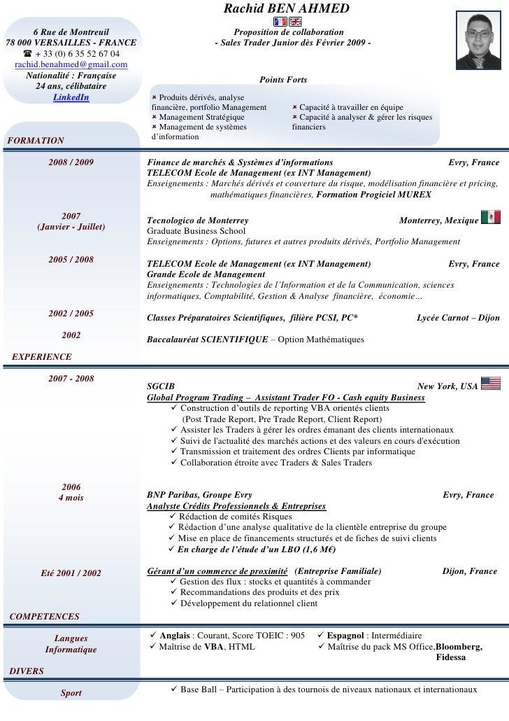 sales trading resume