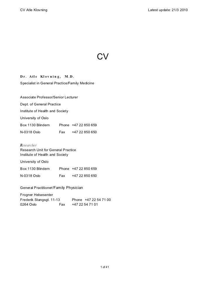 CV Atle Klovning                                              Latest update: 21/3 2010                                    ...