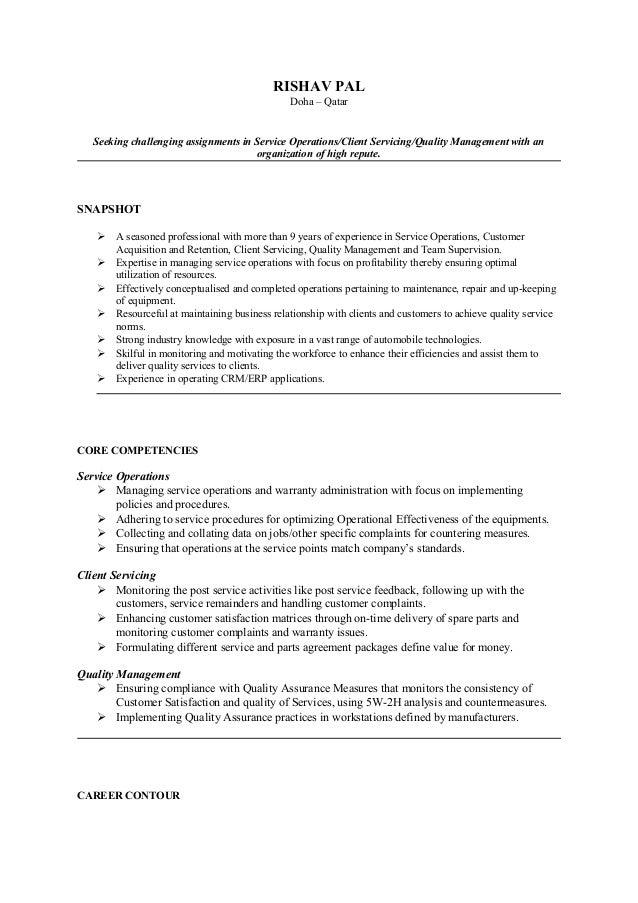 RISHAV PAL                                                Doha – Qatar   Seeking challenging assignments in Service Operat...