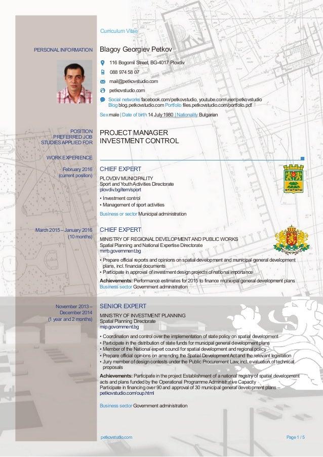 PERSONAL INFORMATION Blagoy Georgiev Petkov 116 Bogomil Street, BG-4017 Plovdiv 088 974 58 07 mail@petkovstudio.com petkov...