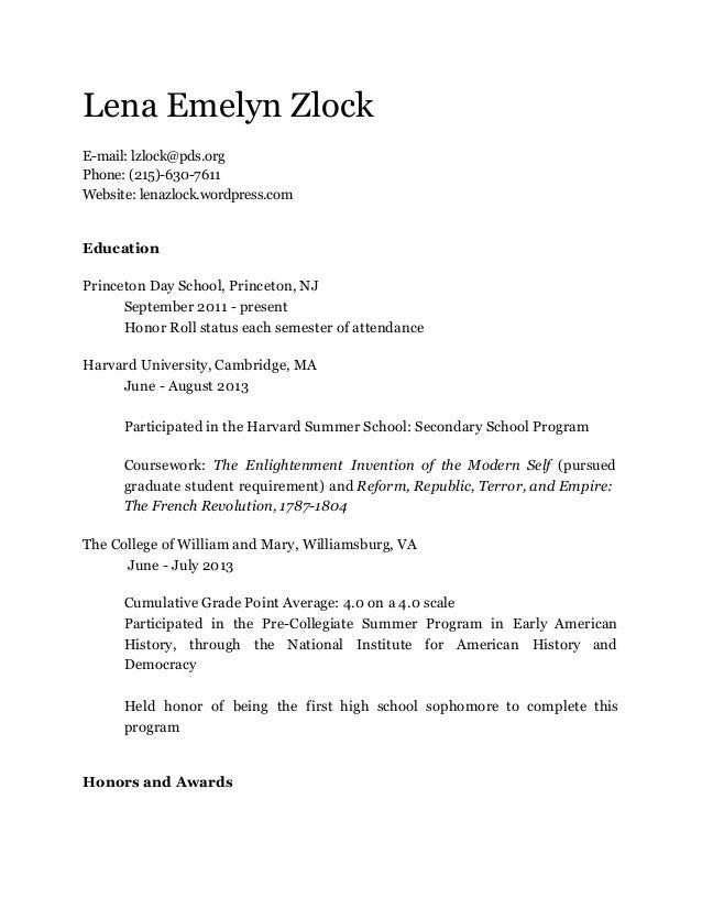 Lena Emelyn Zlock E-mail: lzlock@pds.org Phone: (215)-630-7611 Website: lenazlock.wordpress.com  Education Princeton Day S...