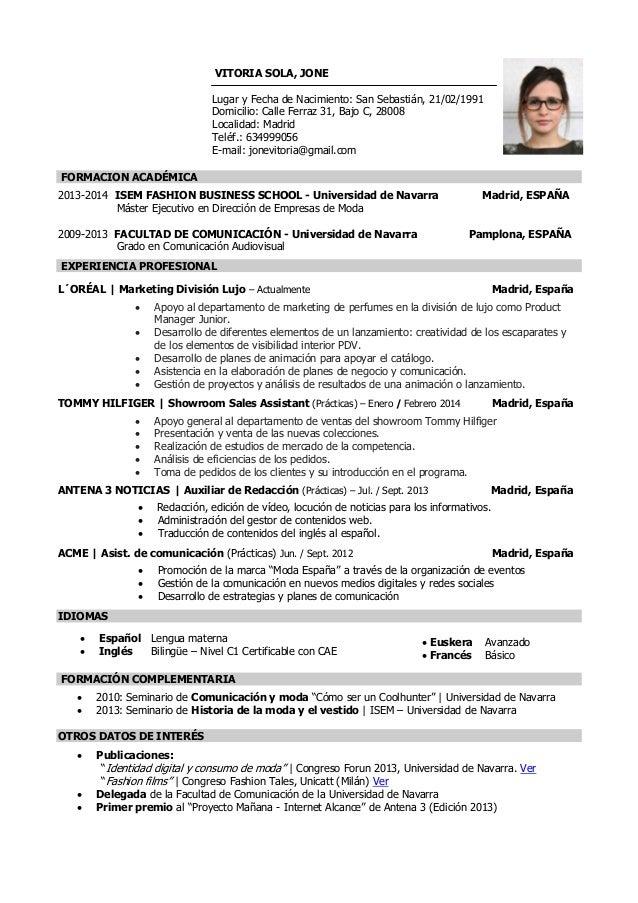Jone Vitoria Sola Curriculum Vitae
