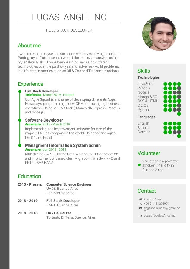 Technologies JavaScript React.js Node.js Mongo & SQL CSS & HTML C & C# Python Languages English Spanish German Skills Volu...