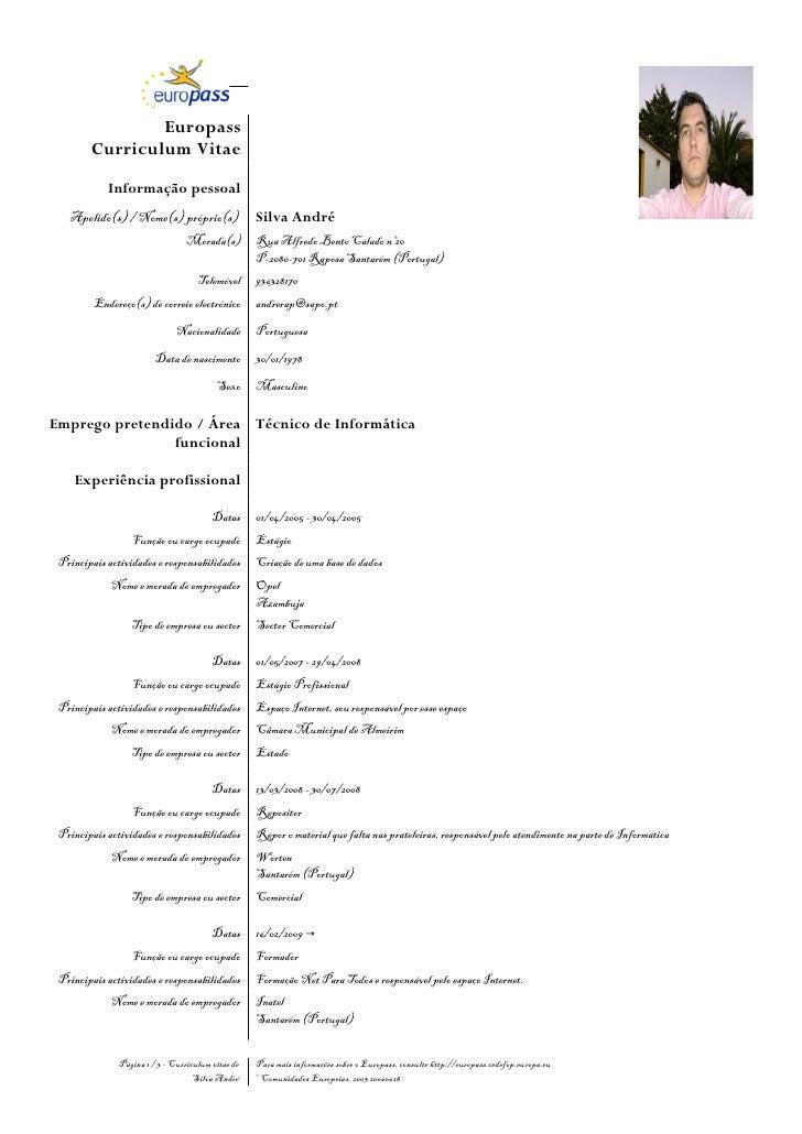 Europass        Curriculum Vitae            Informação pessoal   Apelido(s) / Nome(s) próprio(s)                 Silva And...