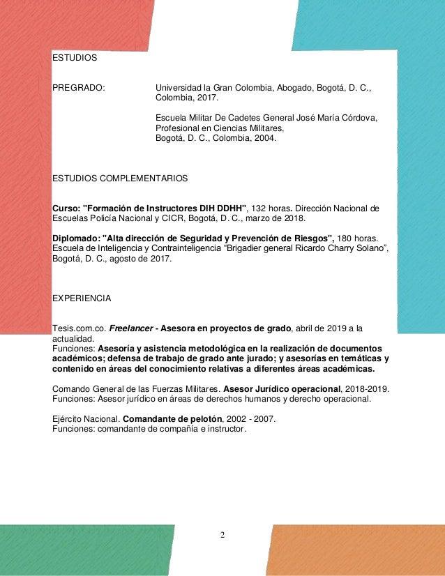 Hoja de vida - curriculum vitae - Alejandro Bejarano Slide 2