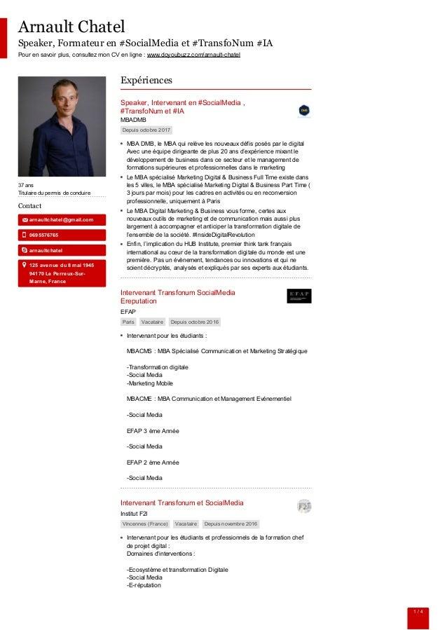 Arnault Chatel Speaker, Formateur en #SocialMedia et #TransfoNum #IA Pour en savoir plus, consultez mon CV en ligne : www....