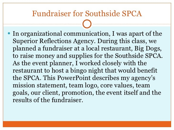 Fundraiser for Southside SPCA <ul><li>In organizational communication, I was apart of the Superior Reflections Agency. Dur...