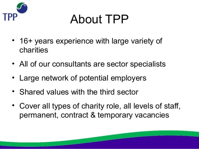 tpp not for profit charity cv workshop